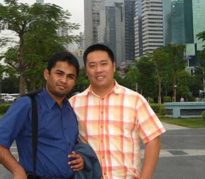 Mr. ROBERT and myself in Shenzhen while I was working as